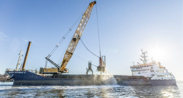 Hybrid Duty Cycle Crawler Crane with 300 t Capacity in Operation in Piombino