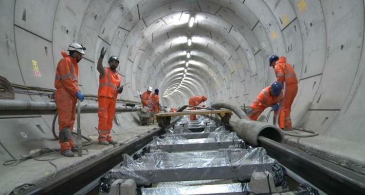 Crossrail Railway Systems: Track installation between Royal Oak Portal and Bond Street
