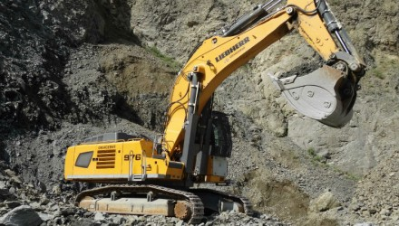 Two Liebherr R 976 crawler excavators in S.C. Grandemar's quarries in Romania