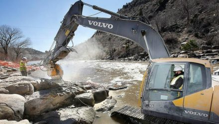 Whinnery Construction employs Volvo excavators to navigate the Animas River