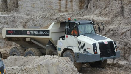 Fifteen Terex Trucks' TA300s articulated haulers shift sand in Dorset