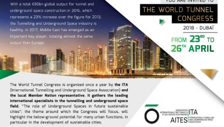 The leading international specialists in the tunnelling and underground space field will gather from 21 to 26 April. The World Tunnel Congress (WTC) will be held at the Dubai World Trade Centre. This annual meeting is a six-day innovation sharing event and showcase scientific advance within the tunnelling and underground industry.
