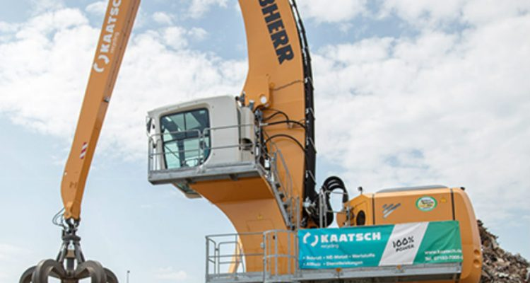 First Liebherr LH 150 material handler with electric drive in an inland port