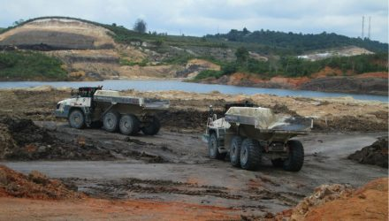 Ten TA400 articulated haulers shift soil in Indonesian mine