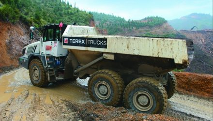 Hillside hauling with two TA300 Terex Trucks articulated haulers