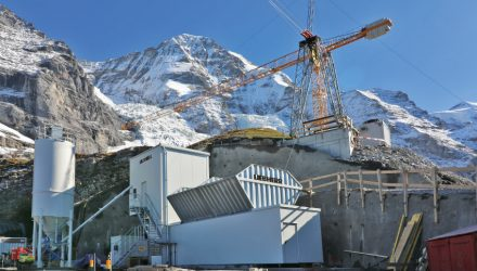 A Liebherr Compactmix 1.0 operates at an altitude of 2,340 metres in Switzerland